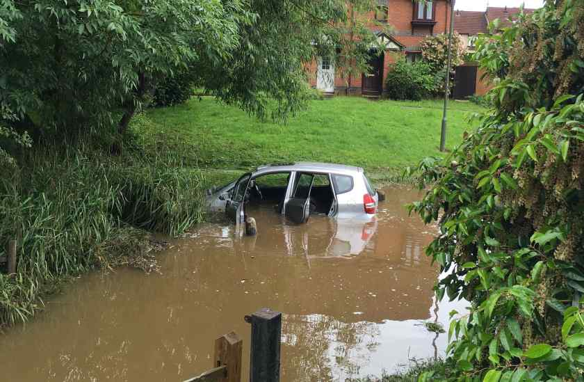Car underwater Guildford